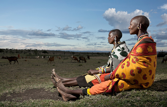 Maasai women looking on their herd (Maasai Mara - Kenya - 2013)