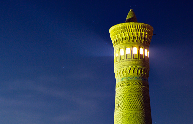 View of the Kalon Minaret of Bukhara at night (Bukhara - Uzbekistan - 2011)