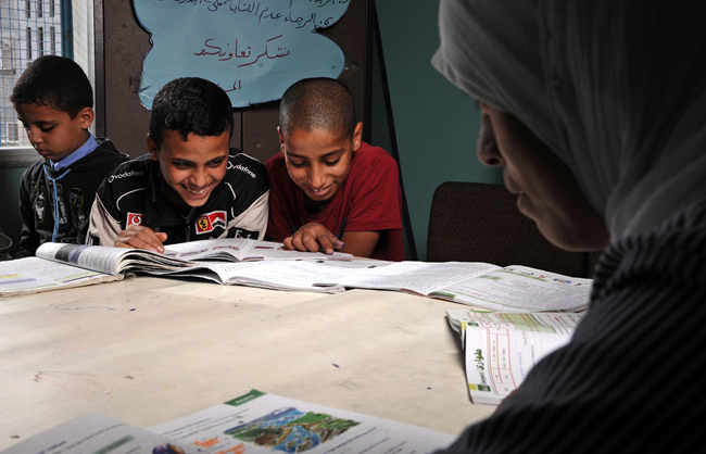 Children Studying and Laughing Together at the Coed School in Gaza Beach Camp (Beach Camp – Gaza Strip – Palestine - 2013)