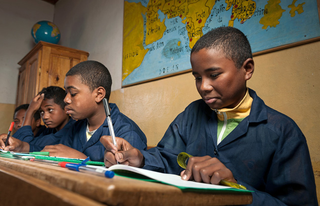 Boys studying at the St. Joseph's College of Ambohidratrimo. The Ankizy Gasy Foundation supports children to access to education and development.